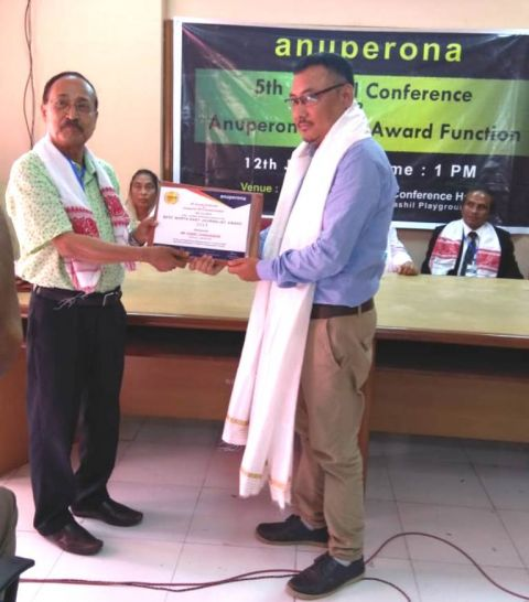 Daniel Chabungbam of Poknapham among the 7 best NE Journalist chosen by Guwahati based organization