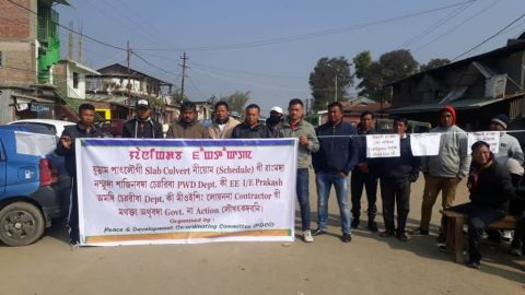 24-hours bandh paralyzed Imphal-Saikul road;   PDCC demands punishment of PWD engineers who go hand-in-globe with contractors in stealing public money