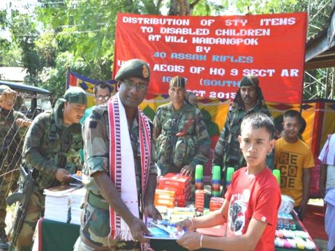 Stationery items distributed by Assam Rifles