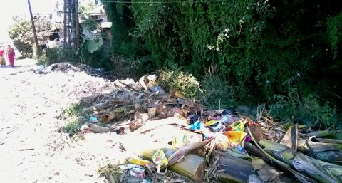 Tera area road fill with garbage; local draws govt. attention