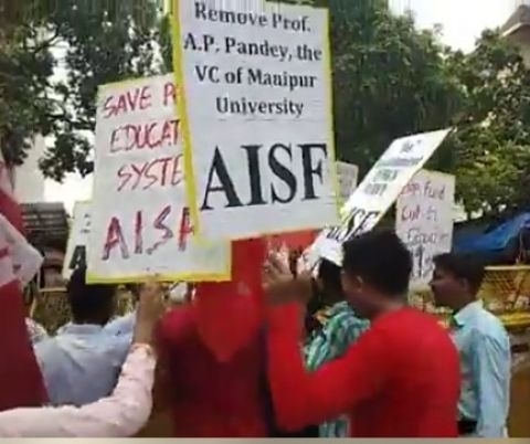More supports to MU community's demand-  Protest reaches Delhi; AISF staged rally and submitted memorandum demanding removal of VC Prof. AP Pandey to the President and HRD Minister