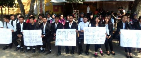 LMS Law College students stage protest against selection of 6 non locals for MJS interview