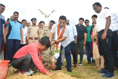 Shyamkumar planted saplings in and around AR campus in Thoubal