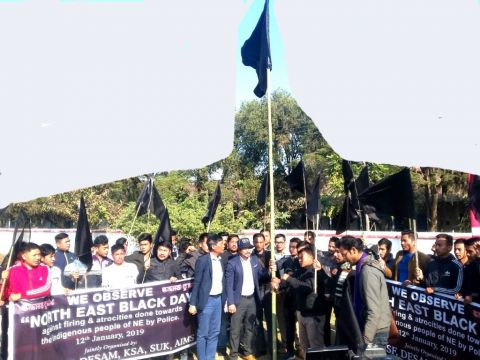 Manipur's Students hoisted Black flag as NESO observes 'Black Day' today