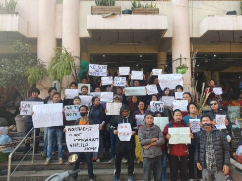 Citizens of Manipur come out voluntarily and stage peaceful protest against CAA