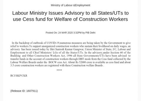 Construction Workers' Federation of India urges CM to use the Cess collection for unorganised construction workers in the state