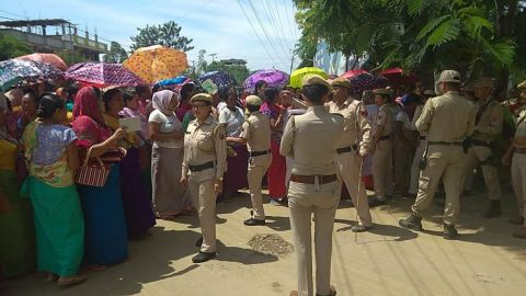 Thoubal Keithel vendor ladies stage rally against the Chairperson of TMC