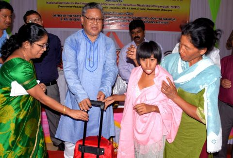Minister K.Shyam Distributes TLM kits to persons with intellectual disabilities
