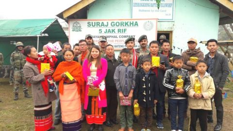 Assam Rifles celebrates Christmas with Church leaders and villagers at Moreh