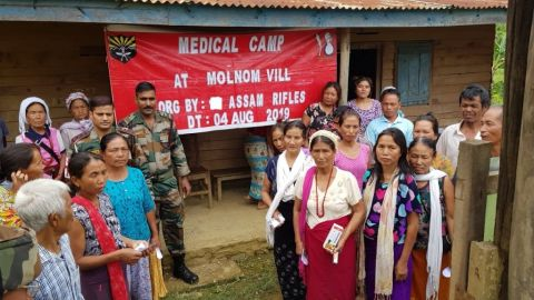 Assam Rifles Organises Picnic for Underprivileged Students and Organises Medical Camp at Molnom Village
